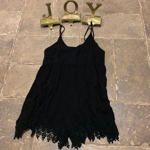 Mika & Gala Black Lace Trimmed Romper